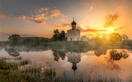 Preview wallpaper Vladimir, Russia, temple, morning, river, sunrise, clouds