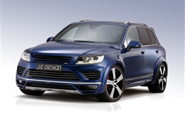 Preview wallpaper Volkswagen Touareg blue SUV car
