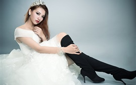 Preview wallpaper White dress Asian girl pose