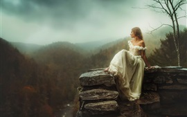 Preview wallpaper White dress girl sit at stone, height, mountains, dawn, fog