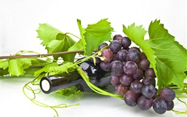 Preview wallpaper Wine, bottle, grapes, green leaves