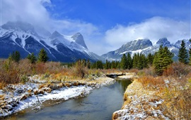 Preview wallpaper Winter, mountains, trees, river, grass, snow, blue sky