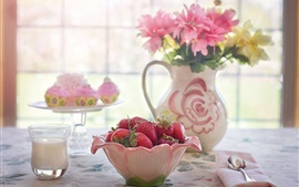 Preview wallpaper A Bowl of strawberry, flowers, window