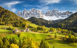 Preview wallpaper Alps, Italy, village, mountains, trees, valley, clouds, autumn