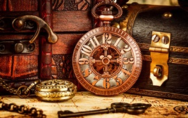 Ancient map, pocket watch, boxes, retro style
