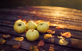 Preview wallpaper Apples, yellow leaves, wood table, sunshine