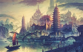 Art drawing, China, retro style, houses, tower, boats