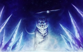 Preview wallpaper Art drawing, white tiger running, owl flying, snow
