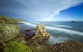 Preview wallpaper Auckland, Muriwai Beach, New Zealand, sea, coast, clouds