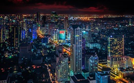 Bangkok city at night, skyscrapers, lights, Thailand