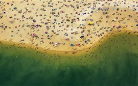 Preview wallpaper Beach top view, sea, coast, sands, people