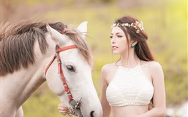 Preview wallpaper Beautiful Asian girl and white horse
