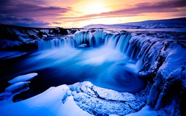 Beautiful landscape, winter, snow, mountains, waterfall, ice, dusk