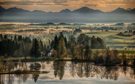 Beautiful morning, trees, river, mountains, fog, Germany, Bavaria, Bayern