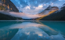Preview wallpaper Beautiful nature landscape, lake, mountains, clouds, dawn, fog