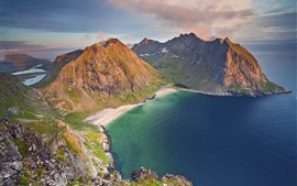 Beautiful sea, coast, beach, mountains, clouds, Norway nature landscape
