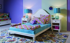 Bedroom, bed, table lamp, colored wall