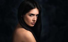 Black hair girl portrait, look back