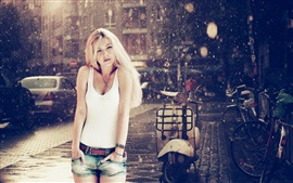 Preview wallpaper Blonde girl in the rain