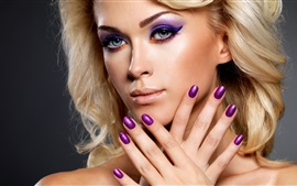 Preview wallpaper Blonde girl, makeup, hands, nail polish