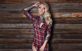 Blonde tattoo girl, shirt, wall