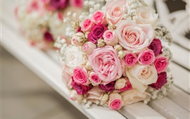 Preview wallpaper Bouquet rose flowers, pink and white, bench