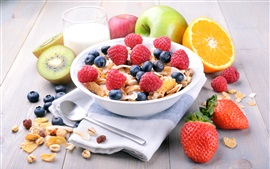 Preview wallpaper Breakfast, muesli, blueberries, raspberry, strawberries, apple, orange, kiwi, milk