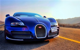 Preview wallpaper Bugatti Veyron blue supercar front view