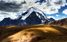 Chine, Tibet, montagnes, neige, ciel, nuages, paysage naturel