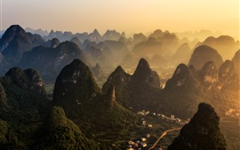 Preview wallpaper China, mountains, village, fog, morning, Guilin natural landscape