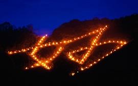 壁紙のプレビュー 中国の祭り、夜のトーチ