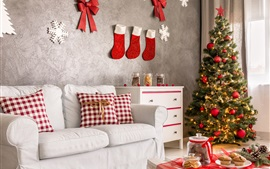 Preview wallpaper Christmas home decoration, sofa, socks, cookies, Christmas tree, holiday lights