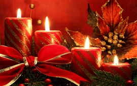 Christmas theme, red candles, flame