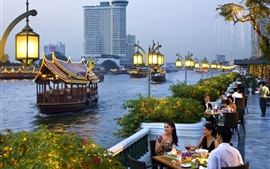 City, dusk, boats, river, shore, street, people, Bangkok, Thailand