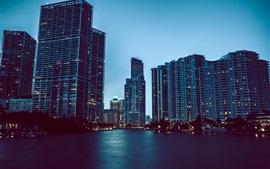 Город сумерек, небоскребы, вода, огни, Флорида, Майами, США