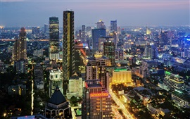 City night, Bangkok, Thailand, buildings, lights