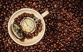 Preview wallpaper Coffee beans, cup, time watch