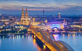 Aperçu fond d'écran Cologne, Allemagne, cathédrale, nuit, ville, Maisons, pont, rivière, illumination