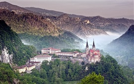 Covadonga, Spain, castle, mountains, forest, fog