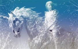 Preview wallpaper Creative art, white style girl and unicorn