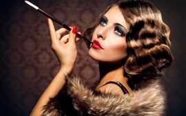 Preview wallpaper Curly hair girl, retro style, cigarette