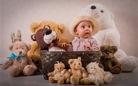 Preview wallpaper Cute baby have lot of teddy bears