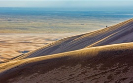 Desert, barren land, lonely person