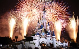 Disneyland, France, feux d'artifice, nuit