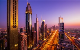 Aperçu fond d'écran Dubaï, ville, nuit, vues, gratte-ciel, route, trafic, lumières