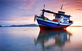 Preview wallpaper Evening, sea, water reflection, ship, sunset