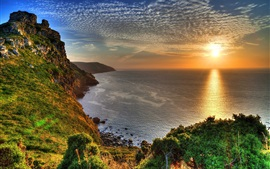 Preview wallpaper Exmoor National Park, England, sunset, sea, coast, clouds