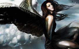 Preview wallpaper Fantasy angel, girl, black wings