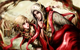 Preview wallpaper Fantasy art, girl and boy elves