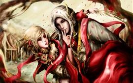 Фантазия искусства, девочка и мальчик эльфы